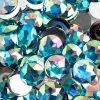 Acrylic Round Flat Back Rhinestones 20mm Aqua Aurora Borealis 200pcs/bag